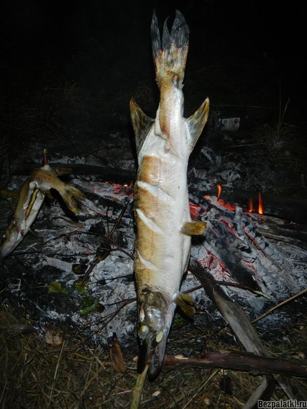 щука на огне