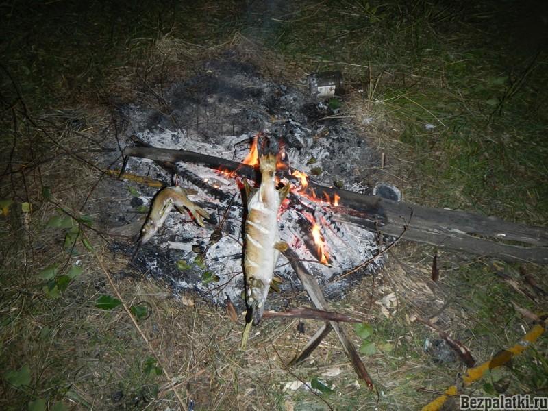 рыба на огне
